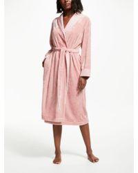John Lewis - Fleece Satin Trim Dressing Gown - Lyst
