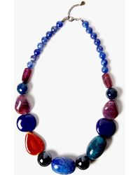 One Button - Beaded Statement Necklace - Lyst