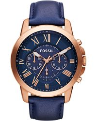 Fossil - Fs4835 Men's Grant Chronograph Leather Strap Watch - Lyst