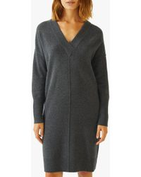 Jigsaw - V-neck Wool Rich Dress - Lyst