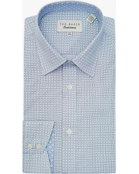 2658c4ee20ea Ted Baker Square Weave Shirt in Blue for Men - Lyst