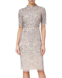 Adrianna Papell - Beaded Short Funnel Neck Dress - Lyst