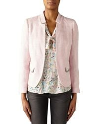 Trilogy - Tweed Jacket With Fringe Trim - Lyst