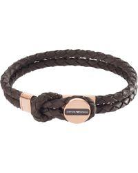 Emporio Armani | Men's Braided Leather Bracelet | Lyst