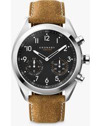 Kronaby - Apex Matt Leather Strap Hybrid Smart Watch - Lyst