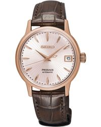 Seiko - Srp852j1 Women's Presage Automatic Date Leather Strap Watch - Lyst