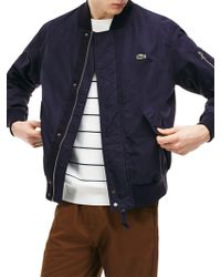 Lacoste - Lightweight Textured Cotton Bomber Jacket - Lyst