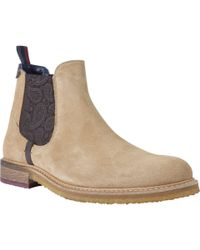 Ted Baker - Bronzo Paisley Detail Suede Chelsea Boots - Lyst