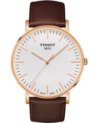 Tissot - T1096103603100 Men's T-classic Everytime Leather Strap Watch - Lyst