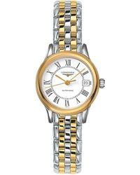 Longines - L42743217 Women's Flagship Automatic Date Two Tone Bracelet Strap Watch - Lyst