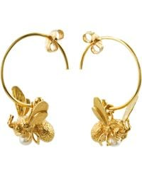Alex Monroe - 22ct Gold Vermeil Flying Bee Freshwater Pearl Hoop Earrings - Lyst