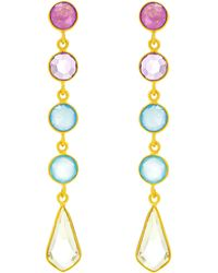 Auren - 18ct Gold Vermeil Deco 5 Drop Gemstone Earrings - Lyst