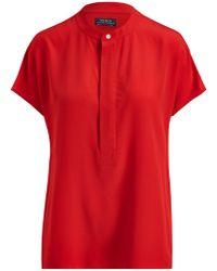 Ralph Lauren - Polo Silk Short Sleeve Blouse - Lyst