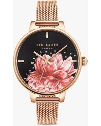 6647adf8a Ted Baker Te50516005 Women's Isabella Bow Bracelet Strap Watch in Metallic  - Lyst