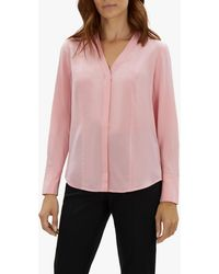 d2d6fcbdb445c Jaeger Silk Wrap Blouse in Natural - Lyst