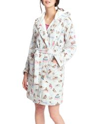 Joules - Idlewhile Dog Print Fleece Dressing Gown - Lyst