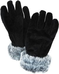 John Lewis - Pig Suede With Faux Fur Trim Thermal Gloves - Lyst