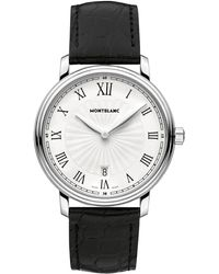 Montblanc - 112633 Men's Tradition Date Stainless Steel Alligator Leather Strap Watch - Lyst