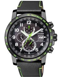 Citizen - Men's Chronograph Tachymeter Date Eco-drive Leather Strap Watch - Lyst