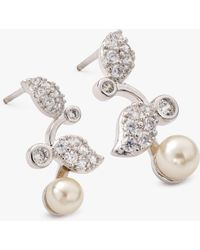 Ivory & Co. - Verona Freshwater Pearl And Cubic Zirconia Leaf Drop Earrings - Lyst