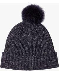 Jigsaw - Metallic Thread Faux Fur Pom Hat - Lyst