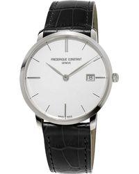 Frederique Constant - Fc-220s5s6 Men's Slimline Date Leather Strap Watch - Lyst
