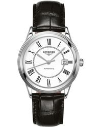 Longines - L48744212 Men's Flagship Automatic Date Alligator Leather Strap - Lyst