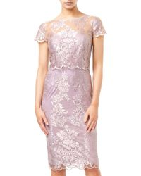 Adrianna Papell - Metallic Embroidered Dress - Lyst