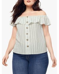 Oasis Curve Bardot Linen Look Button Top