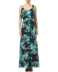 Adrianna Papell - Printed Burn Out Maxi Dress - Lyst