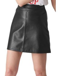 d883af0fde3 Whistles A-line Mini Leather Skirt in Black - Lyst