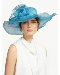 6df98f86b065f John Lewis Irene Down Brim Spot Feather Flower Occasion Hat in Blue ...