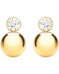Ib&b - 9ct Yellow Gold Cubic Zirconia Ball Stud Earrings - Lyst