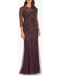 Adrianna Papell - Beaded Godet Gown - Lyst