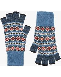 Brora - Cashmere Fair Isle Fingerless Gloves - Lyst