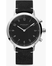 Kronaby - Nord Black Leather Strap Smart Watch - Lyst
