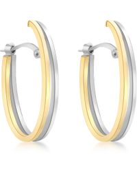 Ib&b - 9ct Gold Two Tone Double Oval Huggy Earrings - Lyst