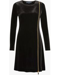 French Connection - Zella Aurore Velvet Zip Mini Dress - Lyst