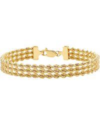 Ib&b - 9ct Gold Hollow 3 Strand Rope Bracelet - Lyst
