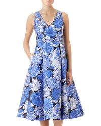 Adrianna Papell - Floral Jacquard Fit And Flare Dress - Lyst