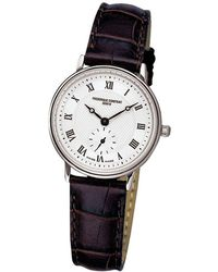 Frederique Constant - Fc-235m1s6 Women's Slimline Leather Strap Watch - Lyst