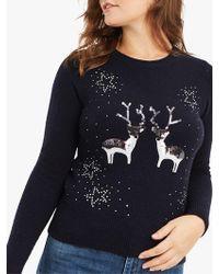 Oasis - Kissing Reindeer Christmas Jumper - Lyst