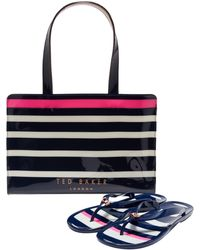 Ted Baker - Ned Striped Icon Bag And Flip Flop Set - Lyst