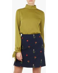 ebbdb7a3786b47 Ted Baker Huda Pintuck Bow Blouse in Blue - Lyst