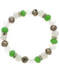 Monet - Bead And Crystal Rondel Stretch Bracelet - Lyst