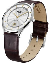 John Lewis - Rotary Gs08300/02 Men's Ultra Slim Date Leather Strap Watch - Lyst