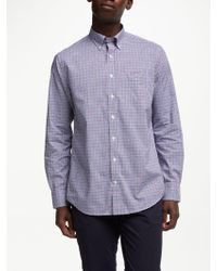 GANT - Long Sleeve Poplin Gingham Shirt - Lyst