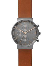 Skagen - Skw6418 Men's Ancher Leather Strap Watch - Lyst