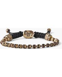 John Varvatos - Beaded Brass Skull Bracelet - Lyst