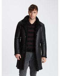 John Varvatos Shearling Coat - Black